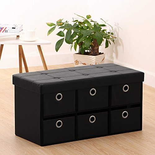 Ollieroo PU Leather Foldable Ottoman Storage Bench Foot Rest Space Saver with 6 Drawers (Black) (Foldable Leather Cover)