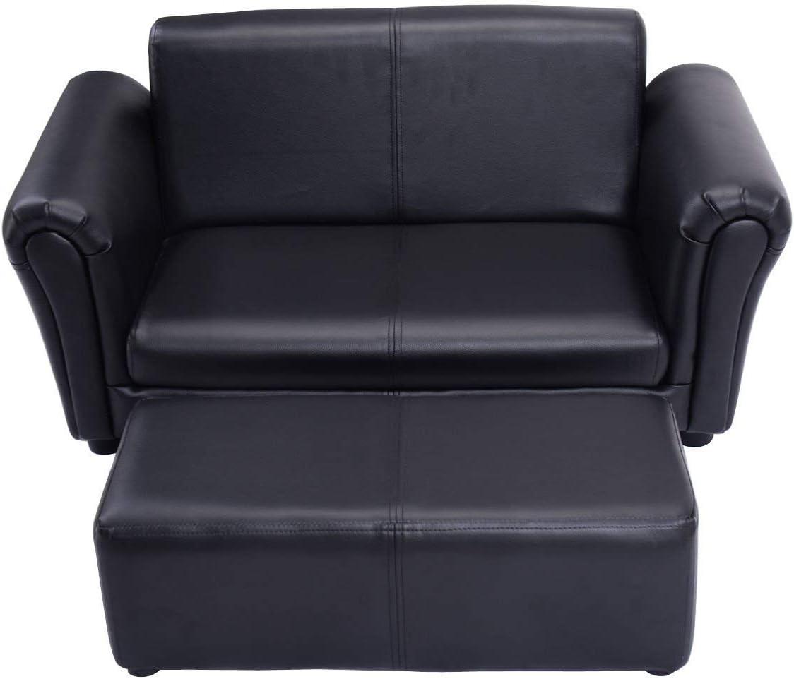 HONEY JOY Kids Sofa Set 2 Seater Armrest Children Couch Lounge w/Footstool (Black)