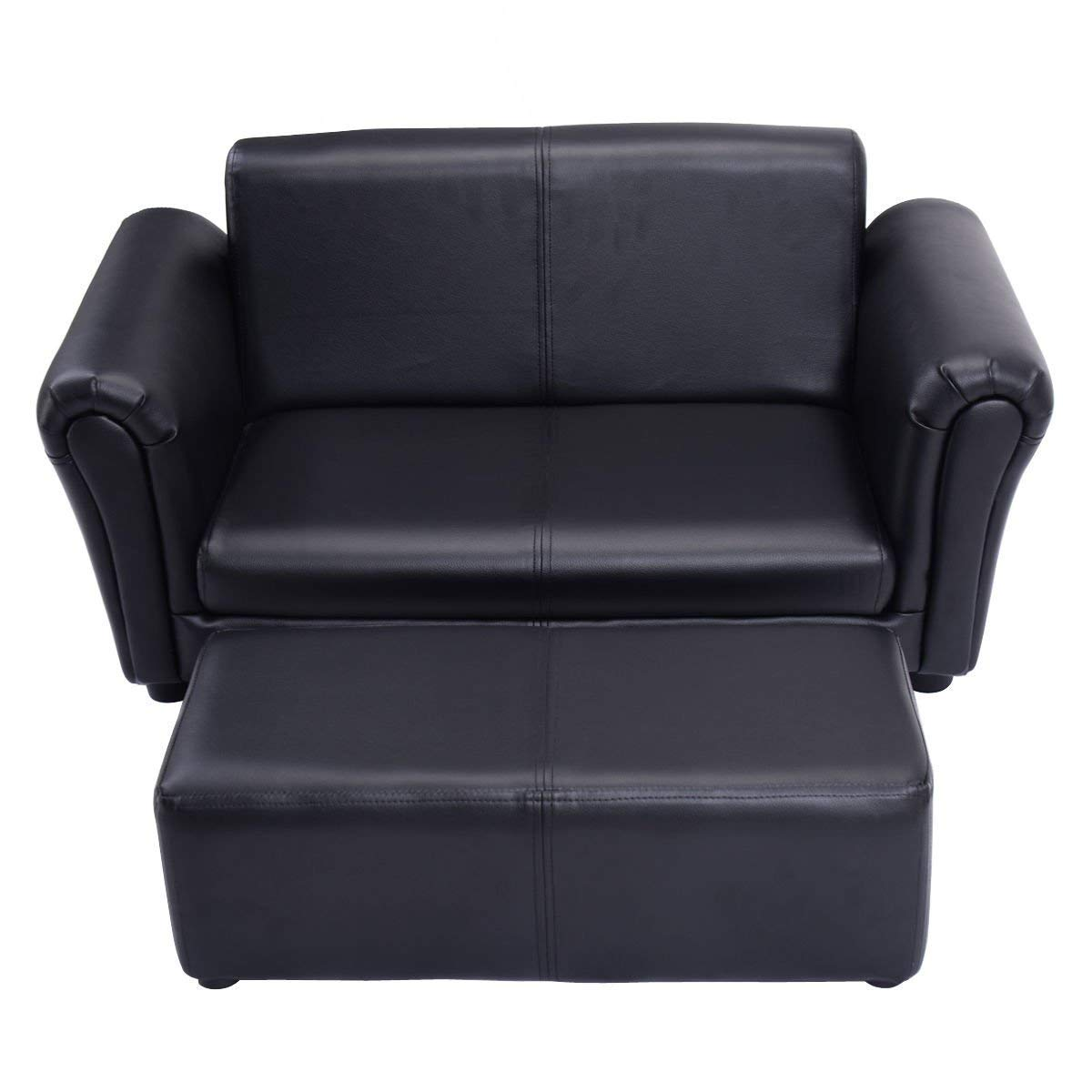 HONEY JOY Kids Sofa Set 2 Seater Armrest Children Couch Lounge w/Footstool (Black) by HONEY JOY