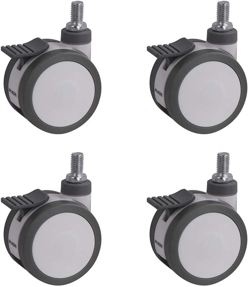 Plástico Medical Screw Brake Alta resistencia Poliuretano de alta resistencia (TPU) ruedas M12x20mm Rueda silenciosa Rueda de equipo médico (Color: freno de tornillo de 3 pulgadas, tamaño: 4 paquetes)