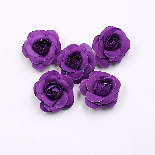 Artificial Flowers Fake flower rose head silk rose bud wedding decoration diy party festival Home Decor wreath headdress accessories clip art flower 20pcs 5cm (dark (Mini Carnations Bouquets)