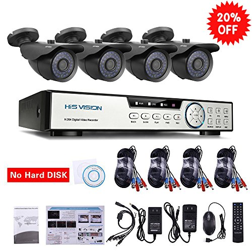 HISVISION 8-Channel HD-TVI 1080N/720P Video Security System DVR recorder with 4x 720P Indoor/Outdoor Weatherproof CCTV Cameras NO Hard Drive, Motion Alert, Smartphone& PC Easy Remote (4 Channel Lcd Dvr)