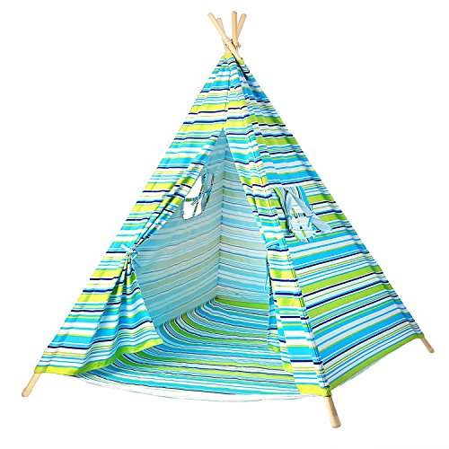 BATTOP Kids Teepee Tent Cotton Canvas Two Window-Classic Stripe Style