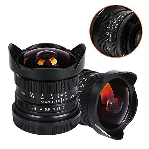 VILTROX 7.5mm F2.8 APS-C Wide Fisheye Fixed Lens for Sony E-mount Camera A7 A7II A7R A7RII A7S A7SII A6500 A6300 - with lens hood/lens cap/lens bag ,Manual Focus