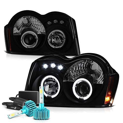 VIPMOTOZ LED Halo Ring Black Smoke Projector Headlight Lamp Assembly For 2005-2007 Jeep Grand Cherokee - Built-In Rainbow RGB LED Low Beam, Driver & Passenger Side ()