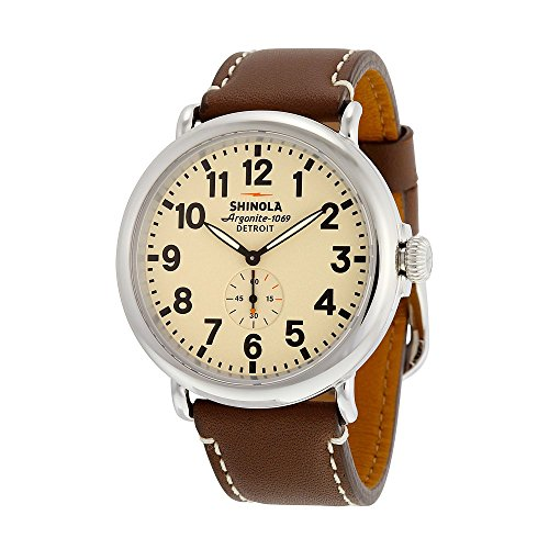 Shinola The Runwell Cream Dial Dark Nut Brown Aniline Latigo Leather Mens Watch S0100039
