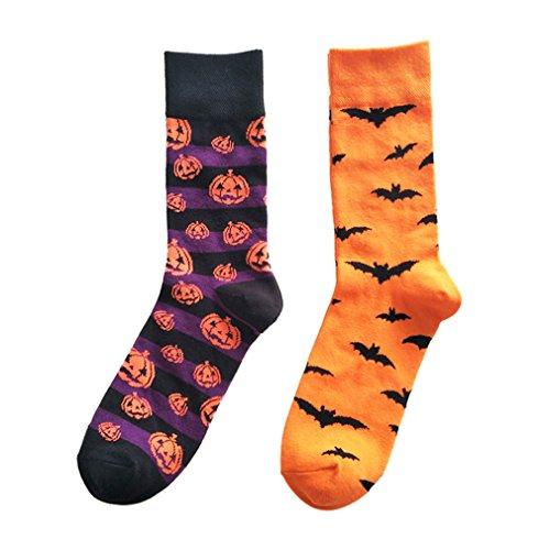 Leoparts Men's Halloween Holiday Pumpkins Bats Crazy Novelty Cotton Crew Long Casual Dress Socks 2 Pack (Pumpkin Socks)