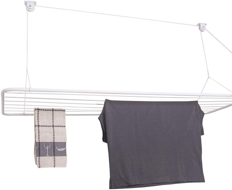 Ceiling Mounted Laundry Hoist Eric 70x50cm 3,9 Meters of Drying Space Ceiling Airer in White PVC Coated Steel 100/% Rust Proof