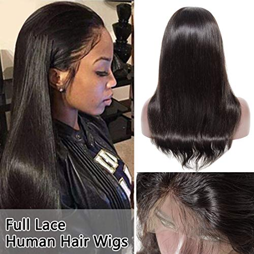 100% Brazilian Virgin Human Hair Glueless Full Lace Wigs with Baby Hair Bleached Knots 130% Denisity Free Part Pre Plucked Natural Hairline Silky Straight for Black Women #1B Natural Black 12 Inch (Lace Straight Full)