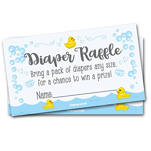 Oh Boy Love It 50 Diaper Raffle Tickets for Baby Shower Rubber Ducky Theme - Gender Neutral Shower Game Activity