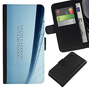 KingStore / Leather Etui en cuir / Sony Xperia Z3 D6603 / Puente de los Sue?os de Libertad Blue Mist