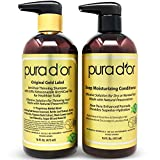 PURA D'OR Anti-Thinning Shampoo with Coal Tar & Ketoconazole and Deep Moisturizing Conditioner Hair Care Set - Dandruff Control & Reduce Hair Thinning, All Hair Types, Men & Women (Packaging May Vary)