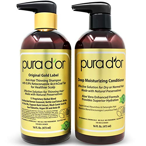 PURA D'OR Anti-Thinning Shampoo with 0.5% Coal Tar & 0.9% KETO-CONAZOLE and Deep Moisturizing Conditioner Hair Care Set - Dandruff Control & Reduce Hair Thinning, All Hair Types, Men & Women ()
