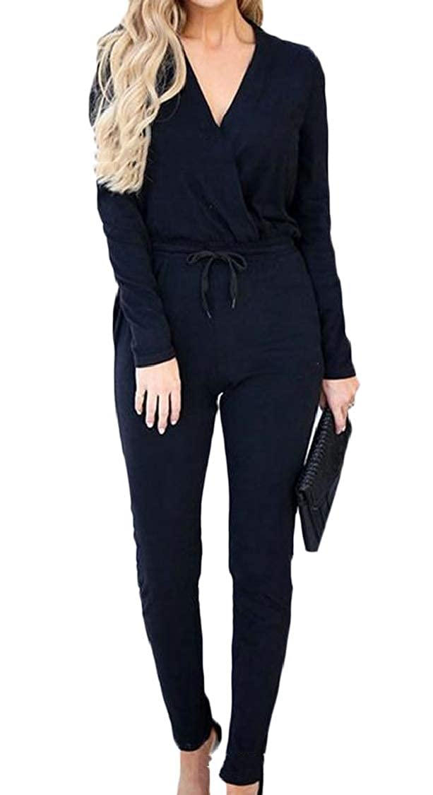 Hajotrawa Womens Romper Slim Fit Knitted Fashion V-Neck Long Sleeve Jumpsuit