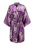 EPLAZA Women Floral Satin Robe Bridal Dressing Gown Wedding Bride Bridesmaid Kimono Sleepwear (deep Purple)