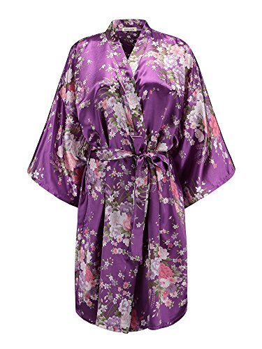EPLAZA Women Floral Satin Robe Bridal Dressing Gown Wedding Bride Bridesmaid Kimono Sleepwear (deep Purple) ()