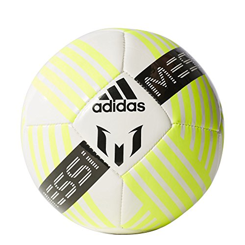 adidas Performance Messi Soccer Ball, White/Black/Solar Yellow, Size 5 (Adidas Soccer Ball 5 Size)