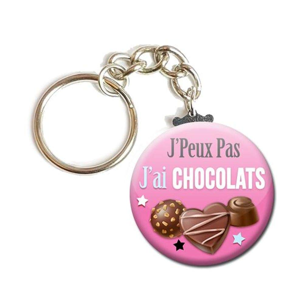 PORTE CLÉS Chaînette 3, 8 cm ✩ J'Peux Pas J'ai CHOCOLATS ✩ (idée cadeau humour famille noel noël excuse) 8 cm ✩ J'Peux Pas J'ai CHOCOLATS ✩ (idée cadeau humour famille noel noël excuse)