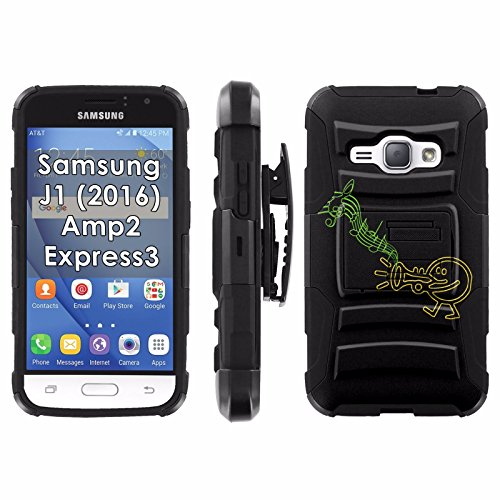 Samsung Galaxy J1 [2016] Amp2 Express 3 Armor Case [Mobiflare] [Black/Black] Blitz Armor Phone Case [Holster] Screen Protector - [Trumpet Music]