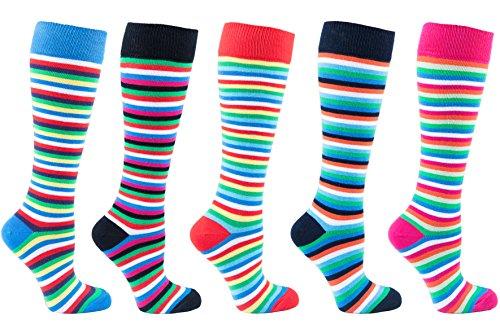 Cotton Nylon Knee High Socks - Socks n Socks - Women's 5-pair Striped Design Turkish Cotton Knee high Socks