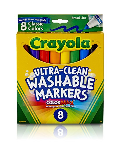 Crayola Washable Markers, Broad Point, Classic Colors, 8/Pack ()
