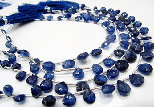 Exclusive AAA Quality Natural Blue Sapphire Heart Shape Briolette Beads 6 to 10mm / Strand 8 inches / Precious Gemstone Beads- Birth Stone - Sapphire Briolette Bead