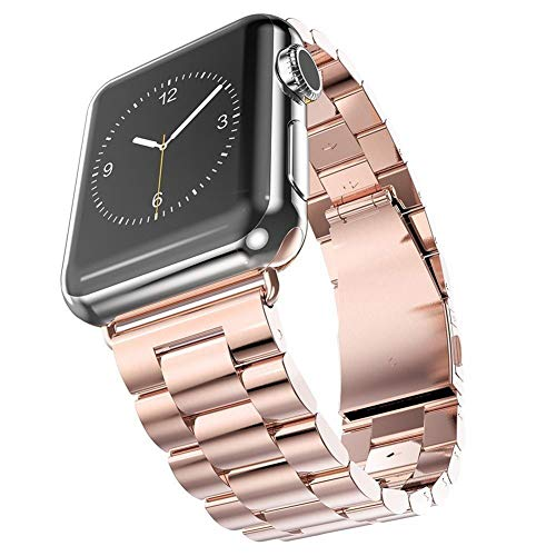 - Watch Strap 38/40 / 42 / 44mm Stainless Steel Entity Three Chain Push-Button Hidden Clasp Steel Strip Watch Band Replacement Band Compatible with Apple Watch iWatch Series 4/3/2/1 (Rose Gold, 38mm)