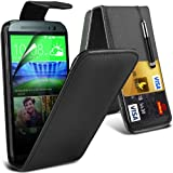 Fone-Case ( Black ) HTC One M8S Case Brand New Luxury PU Leather Flip With Credit / Debit Card Slot Case Skin Cover With LCD Screen Protector Guard, Polishing Cloth & Mini Retractable Stylus Pen