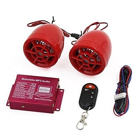 Alarme DealMux Red Motorcycle Moto MP3 Speaker amplificador de áudio 2pcs Aparelho de som