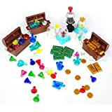 Treasure Set Compatible for LEGO Chest Diamonds Ore Coin Gold Bars Block Toy