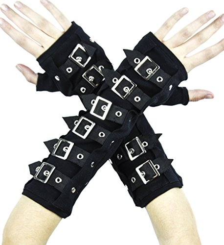Black Buckle Gloves Deathrock Gothic Arm Warmers