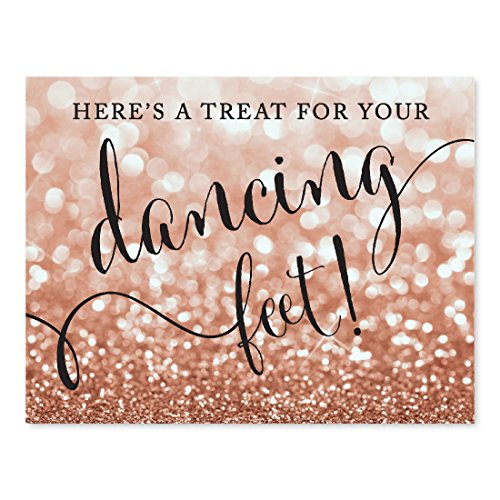 (Andaz Press Wedding Party Signs, Glitzy Rose Gold Glitter, 8.5x11-inch, Here's a Treat for Your Dancing Feet! Flip Flop Sandals High Heels Shoes Dance Floor Reception Sign, 1-Pack, Bokeh)