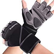 #LightningDeal Grebarley Workout Gloves,Gym Gloves,Training Gloves with Wrist Support for Fitness Exercise Weight Lifting Gym Crossfit,Full Palm Protection & Extra Grip,Hanging,Pull ups for Men & Women