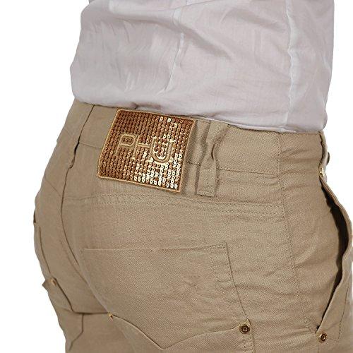 Nuovo Phard Linna Da Pantaloni Donna Beige Lino Yoga Flare l Pantaloni Impatto EXHUvqwxU