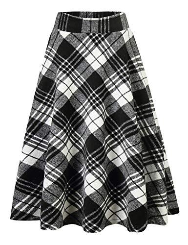 IDEALSANXUN Womens High Elastic Waist Maxi Skirt A-line Plaid Winter Warm Flare Long Skirt (X-Small, 2 ()