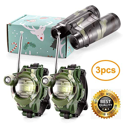 zizwe Kids Walkie Talkies Watches and Binoculars - Outdoor Toys Two-Way Radios Walky Talky for Children, Cool Camouflage Outdoor Kit for Children (Walky Talky Watch)