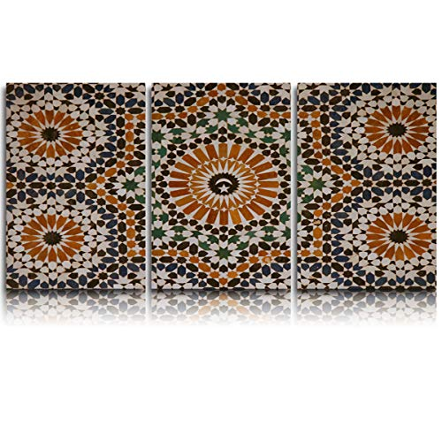 3 Piece Canvas Wall Art Morocco Arab Mosaic Pattern Abstract Oil Paintings on Canvas Set for Modern Home Decoration Stretched and Framed Ready to Hang]()