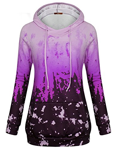 Gaharu Hooded Sweatshirt Women, Knit Long Sleeve Hoodie Stretchy Comfy Outfits Lightweight Tunic Shirts With Pocket - Fashion Unique Womens