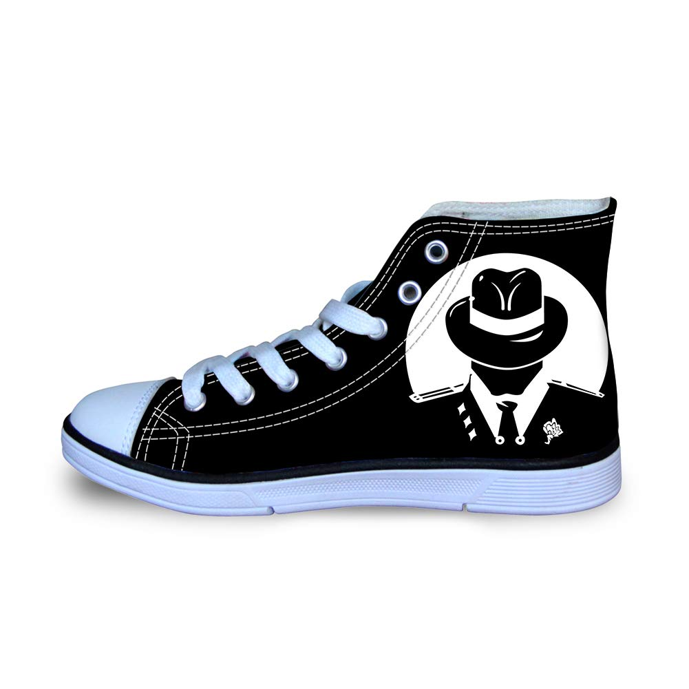 Canvas High Top Sneaker Casual Skate Shoe Boys Girls Tuxedos and Tommy Mafia Logo