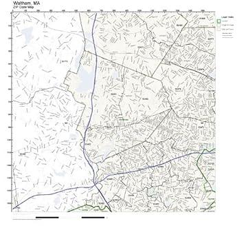 Amazon.com: ZIP Code Wall Map of Waltham, MA ZIP Code Map