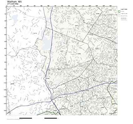 Amazon Com Zip Code Wall Map Of Waltham Ma Zip Code Map Laminated