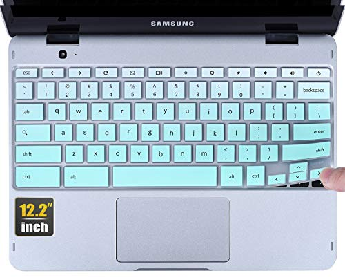CaseBuy Keyboard Cover Compatible 2019 2018 Samsung Chromebook Pro 12.2 / Samsung Chromebook Plus XE520QAB XE525QBB 12.2 inch Anti Dust Waterproof Protective Skin, Gradual Mint Green