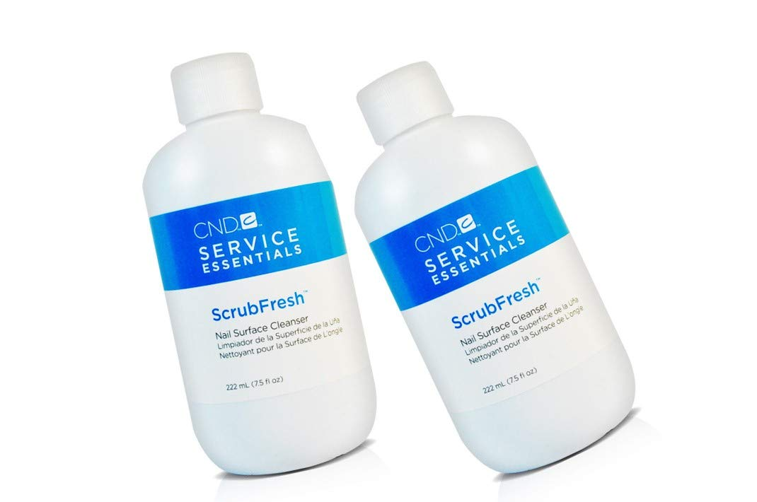 2 X New Essentials SCRUB FRESH Nail Surface Cleanser Sanitizer Prep for Polish. One-step nail prep that improves adhesion and removes contaminants from the nail plate 7.5oz