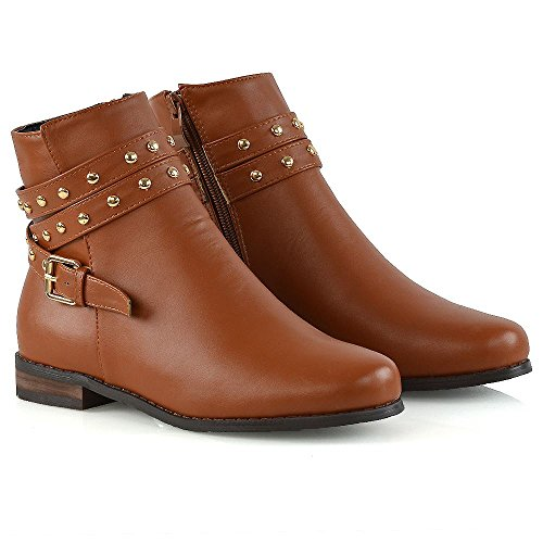 ESSEX GLAM New Womens Ankle Boots Studded Straps Zip Ladies Flat Heel Chelsea Pixie Booties Tan Synthetic Leather RxnJq41kj