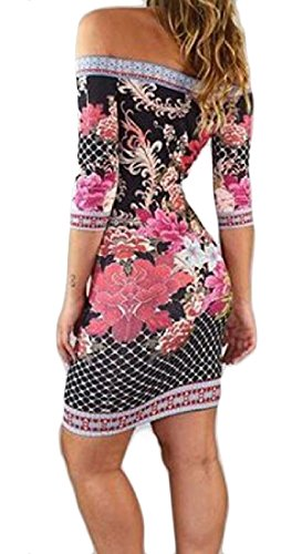 Print Off Sleeve Package Picture 4 Comfy Dress Hip Shoulder Women 3 Floral As 1qOwOF
