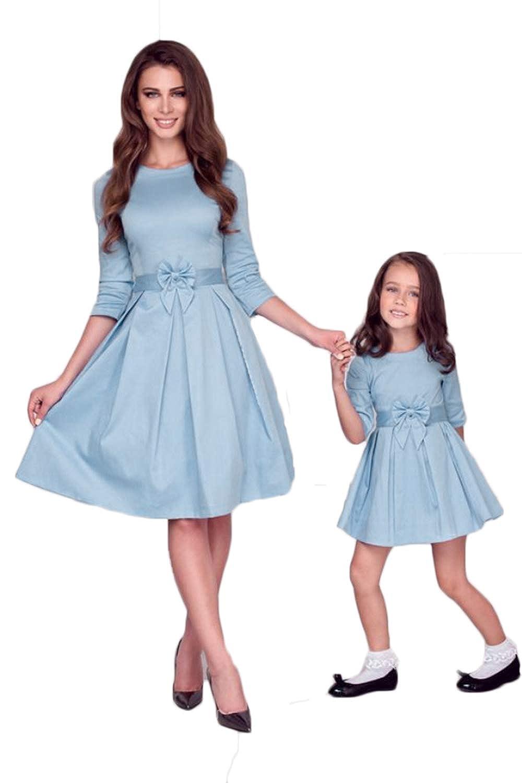 WIWIQS Mom Me 3/4 Sleeve Solid Color Bowknot Swing Midi Homecoming Dress C-FALLCXQZZQZ