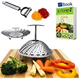 Kitchen Deluxe Vegetable Steamer Basket - With Extendable Handle - Fits Instant Pot Pressure Cooker 5, 6 Qt & 8 Quart - 100% Stainless Steel - Accessories Include eBook + Peeler | For Instapot