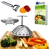 Kitchen Deluxe Vegetable Steamer Basket - Extendable Handle - Large - For Instant Pot Accessories 5, 6 Qt & 8 Quart - 100% Stainless Steel - Includes eBook + Peeler - Fits Instapot Pressure Cooker