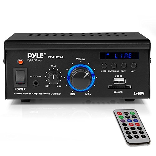 lifier System - 2x40W Dual Channel Mini Theater Power Stereo Sound Receiver Box w/USB, RCA, AUX, LED, Remote, 12V Adapter - For Speaker, iPhone, Studio Use - Pyle PCAU25A ()