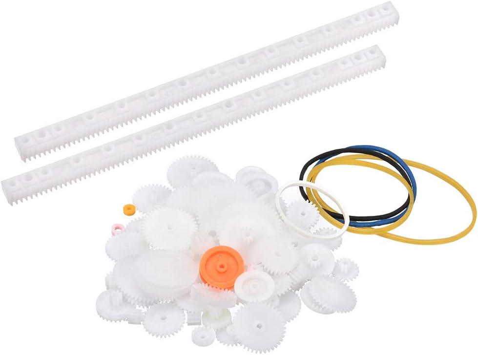 uxcell 82 Pcs Plastic Gear Package Kit DIY Gear Assortment accessories set for Toy Motor Car Robot Various Gear Axle Belt Bushings
